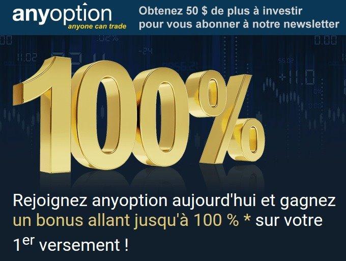 exemple de publicité sur les bonus du broker régulé AnyOption